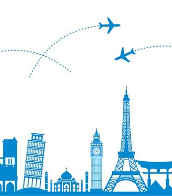 Travel  and transport .The landmarks of the world as the background